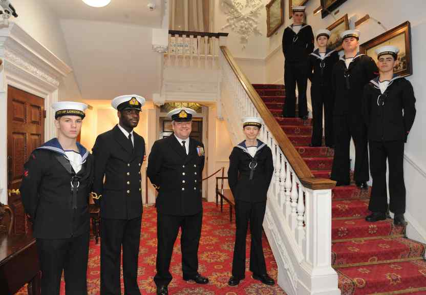 City of London Sea Cadets form the Stair Guard